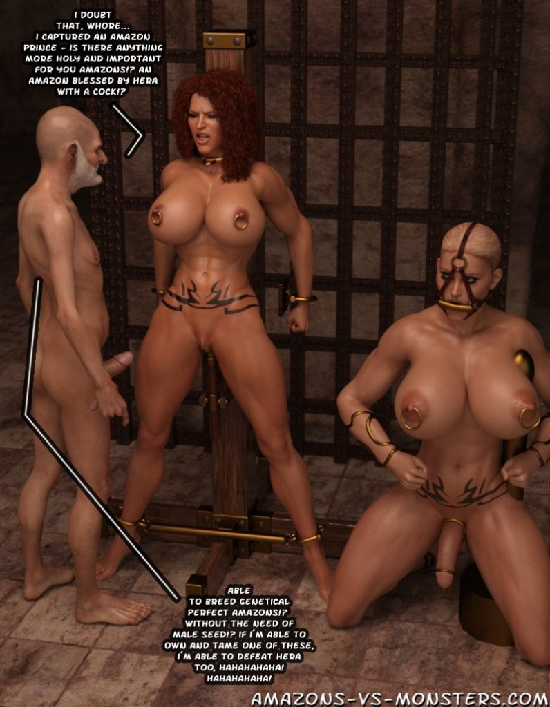 red sanya, muscular amazon warrior gets captured and is then fucked in bondage by the evil wizard and his 3d futanari shemale