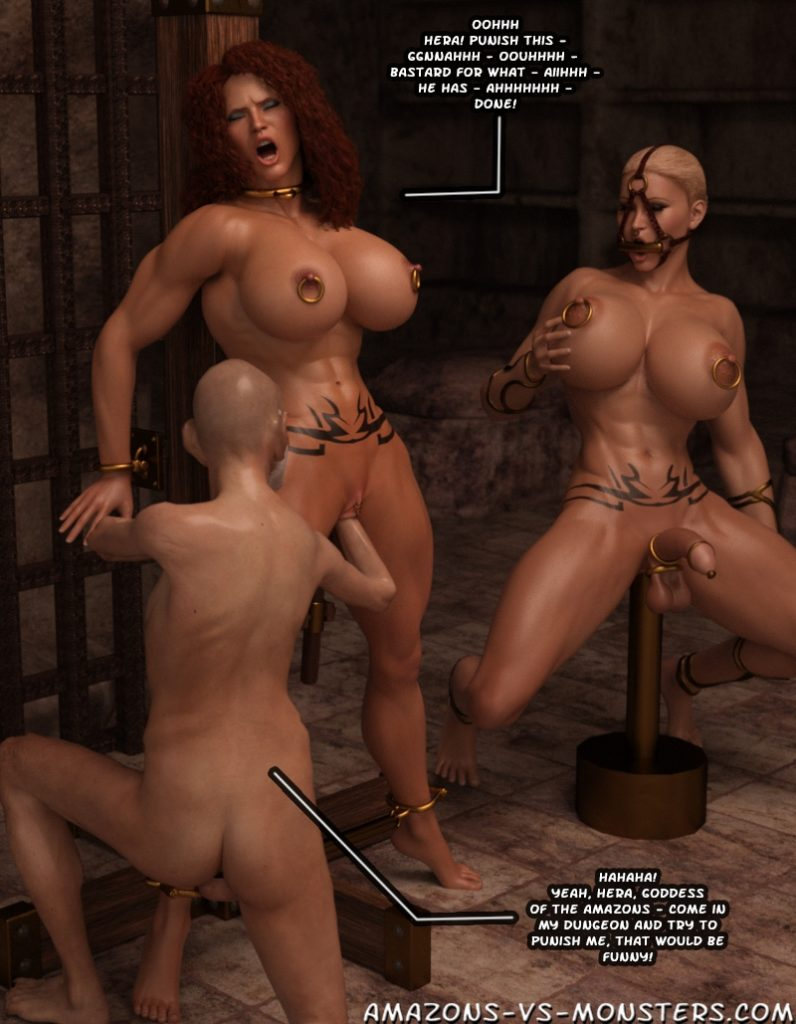 captured muscular amazon fisted in bodage by villain in 3d porn comic by miles81