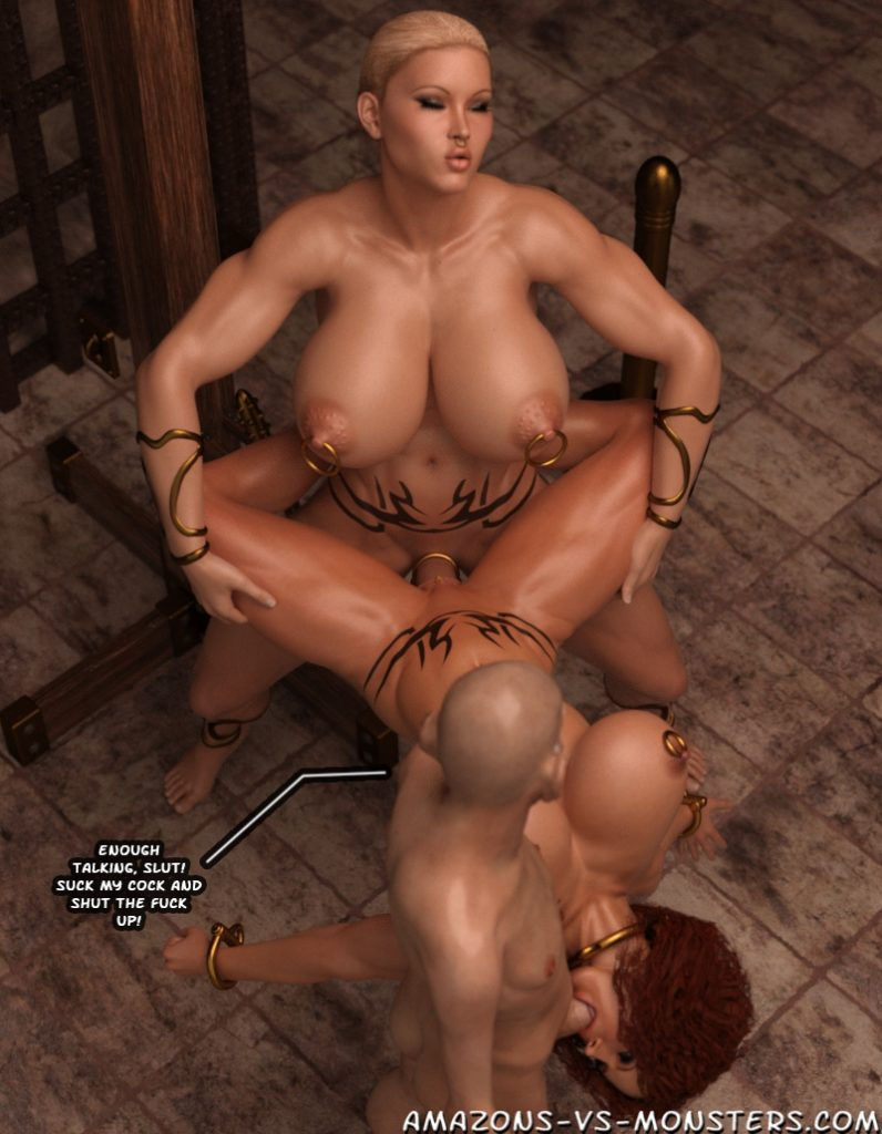 broken, defeated and mind controlled shemale princess fucks red sanya in bondage as she is tied up - of course she has to suck the wizards cock!