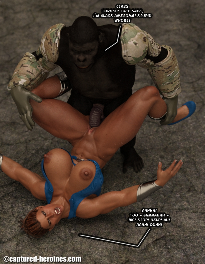 3d superheroine with big boobs fucked in all holes by monkey mutant