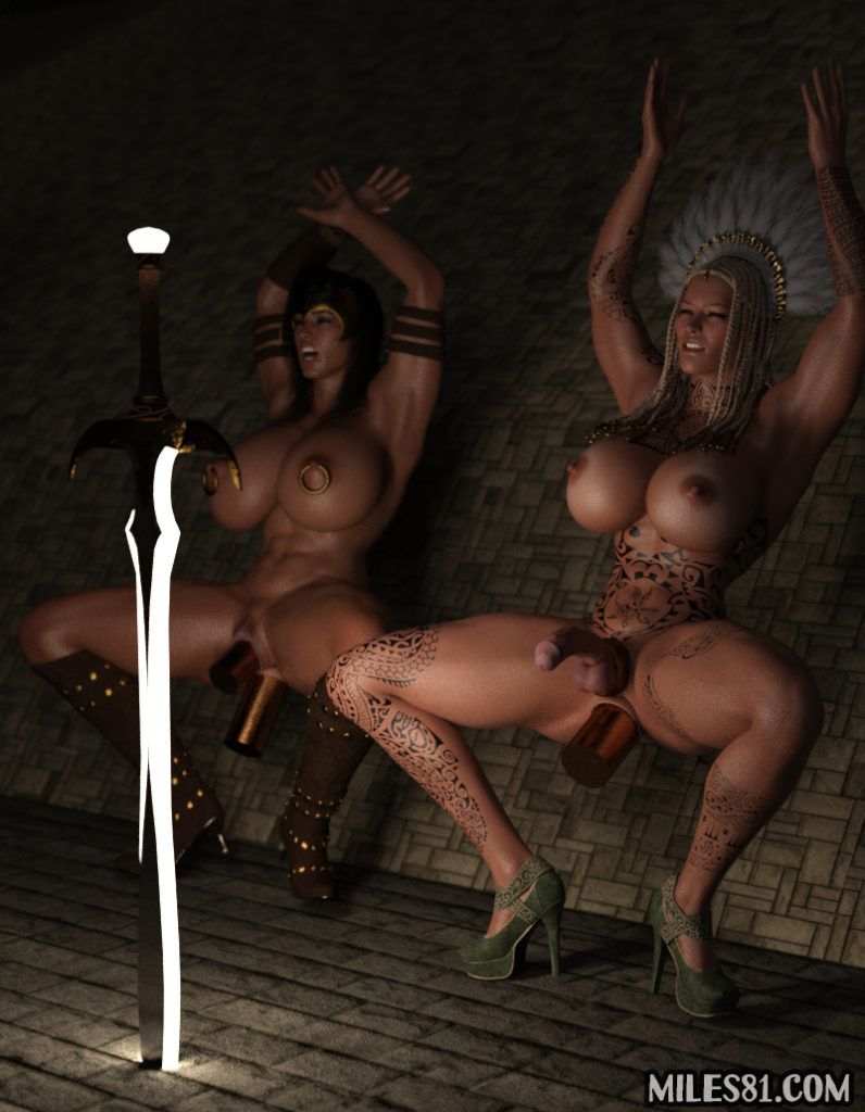 3d futa porn warrior sluts praying to hera with their pussy and ass stretched by huge dildos