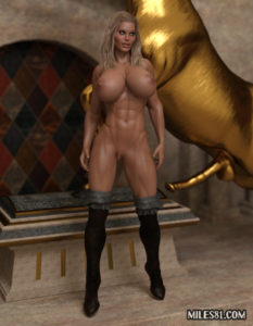 muscular 3d amazon warrior babe getting ready for kinky sex ritual
