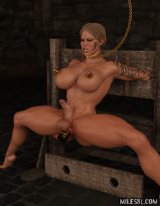 futanari warrior dickgirl fucked with huge dildo in the ass in bondage after she was forced to cum