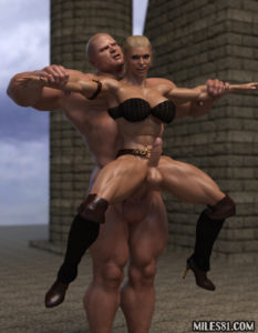 well hung barbarian warrior fucking a shemale futa amazonian bitch in her ass until she squirts her cum all over the place
