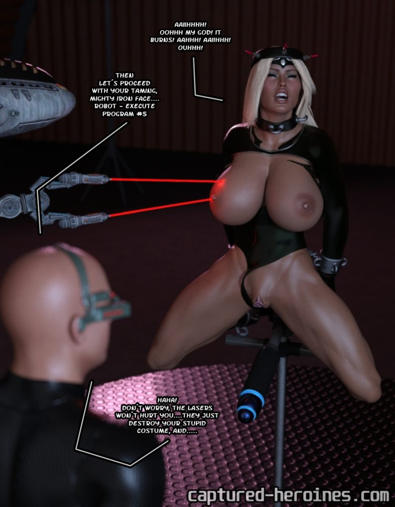 Superheroine in bondage and in peril